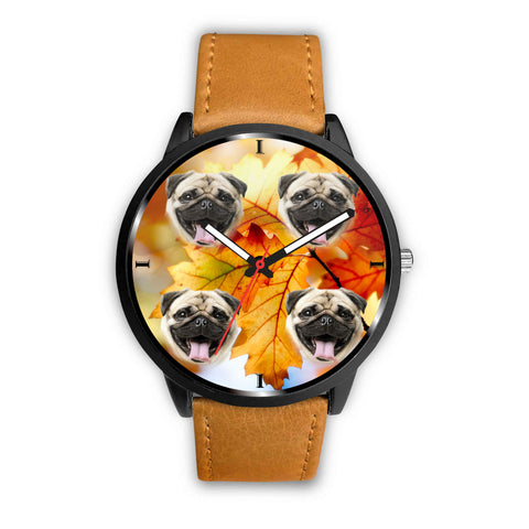 Laughing Pug Dog Print Wrist Watch