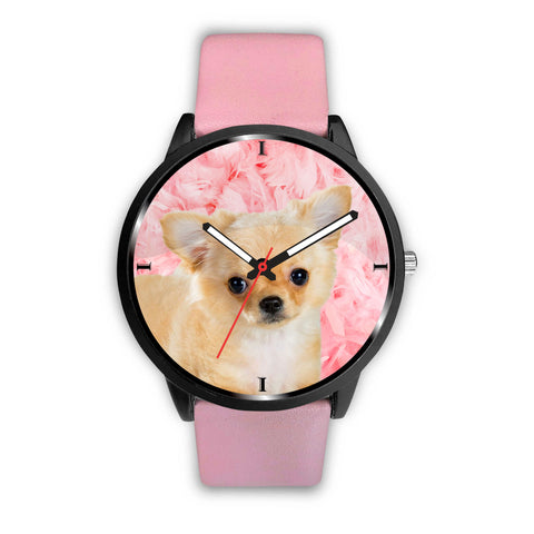 Chihuahua Dog On Pink Print Wrist Watch