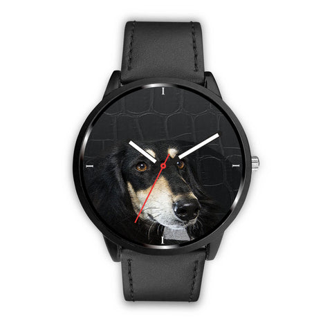 Black Saluki Dog Print Wrist Watch