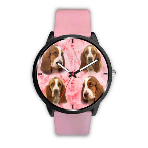 Basset Hound On Pink Print Wrist Watch