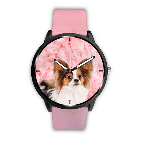 Cute Papillon Dog On Pink Print Wrist Watch