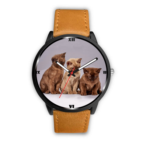 Three Burmese Cat Print Wrist Watch