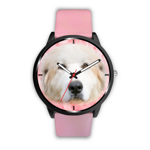 Great Pyrenees On Pink Print Wrist Watch