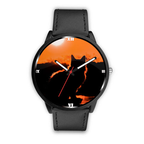 Cat Shadow Print Wrist Watch