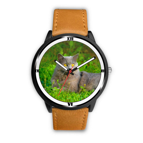 Lovely Chartreux Cat Nature Print Wrist Watch