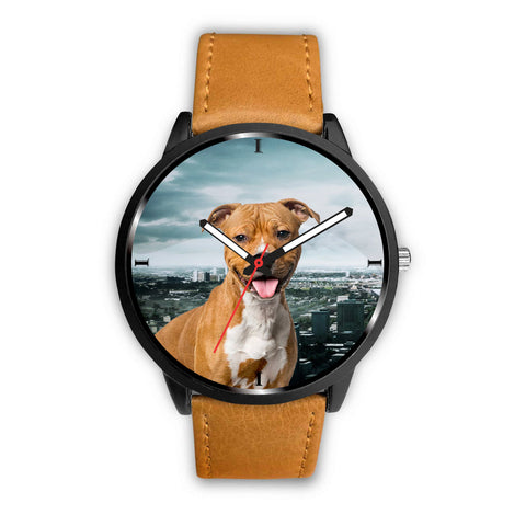 Cute Staffordshire Bull Terrier Puppy Print Wrist Watch