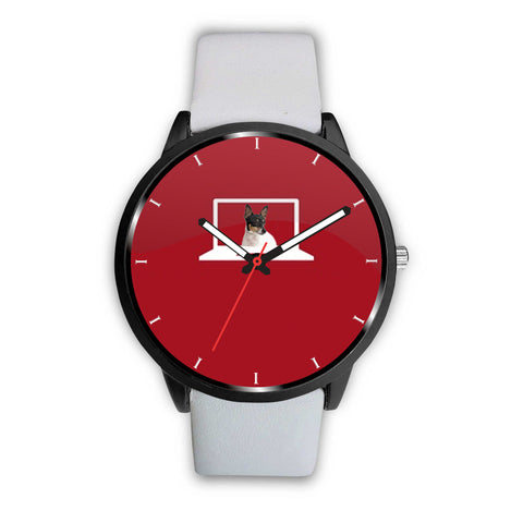 Toy fox terrier Print on red Wrist Watch