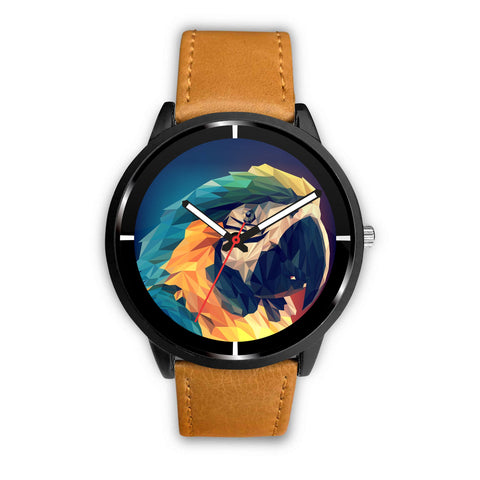 Blue and Yellow Macaw Parrot Vector Art Print Wrist Watch