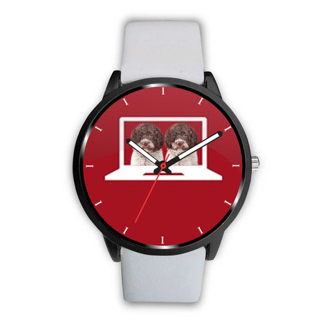 Lagotto Romagnolo dog Print On Red Wrist Watch