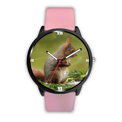 Red Squirrel Print Wrist Watch