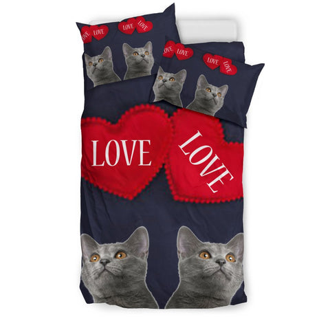 Chartreux Cat Love Print Bedding Sets