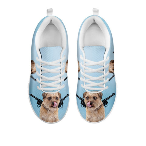 Amazing Two Guns With Border Terrier Print Running Shoes For WomenFor 24 Hours Only