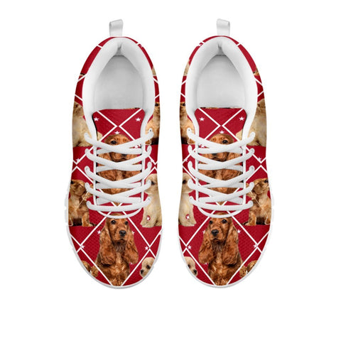 Amazing Cocker Spaniel Dog In Red Boxes Print Running Shoes For WomenFor 24 Hours Only