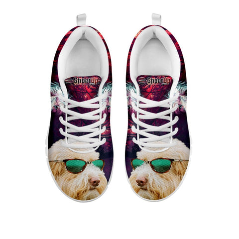 Cute Goldendoodle With Glasses Print Running Shoes For Women For 24 Hours Only
