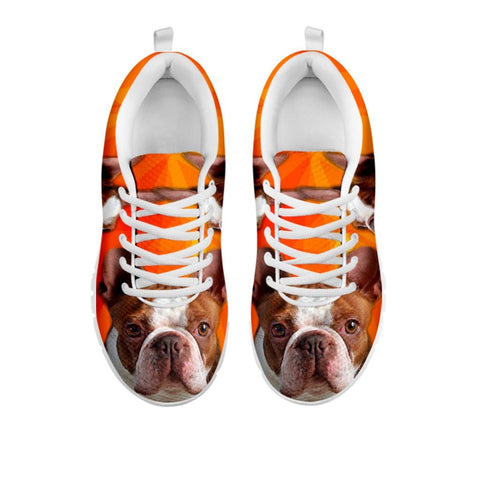 Cute Red Boston Terrier Sneakers For WomenFor 24 Hours Only