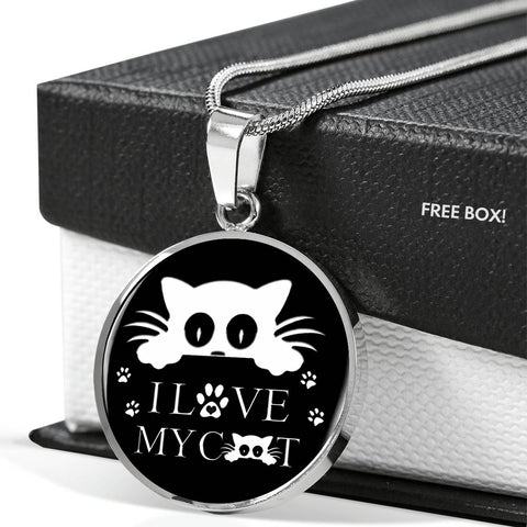 """ I Love My Cat"" Print Circle Pendant Luxury Necklace"