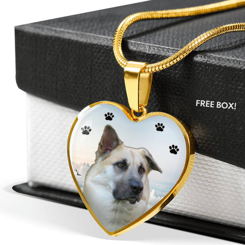 Chinook Dog Print Heart Pendant Luxury Necklace