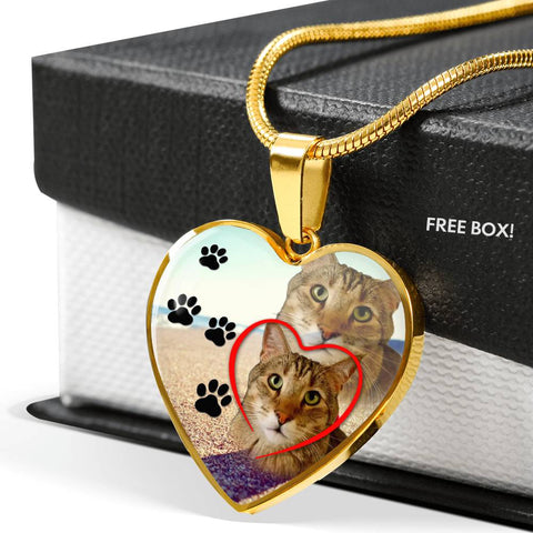 Pixie Bob Cat Print Heart Pendant Luxury Necklace