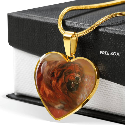 Tibetan Mastiff Print Heart Pendant Luxury Necklace