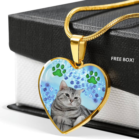 Cute American Shorthair Print Heart Pendant Luxury Necklace