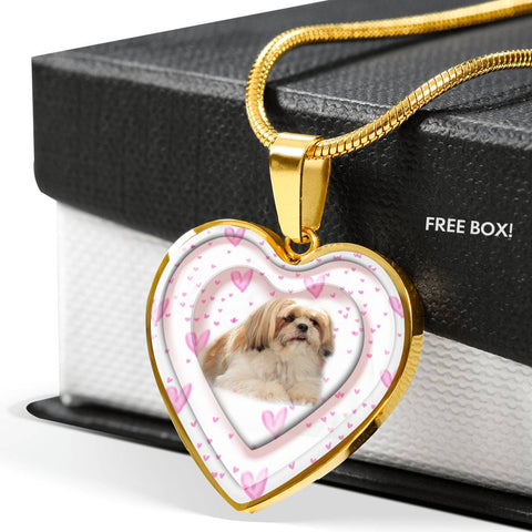 Shih Tzu Dog Print Heart Pendant Luxury Necklace
