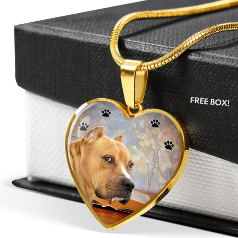 Staffordshire Bull Terrier Print Heart Pendant Luxury Necklace