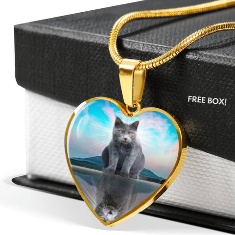 Chartreux Cat Print Heart Pendant Luxury Necklace
