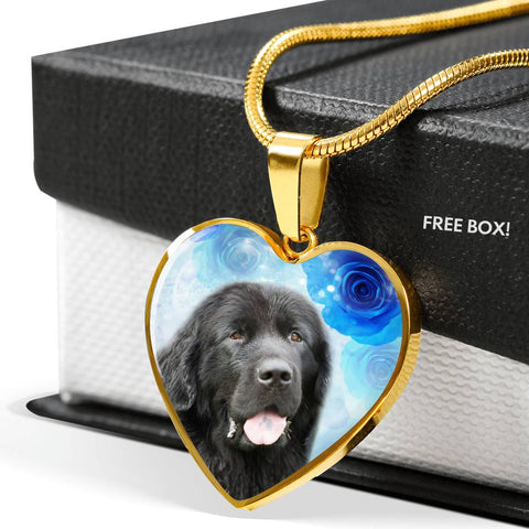 Newfoundland Dog Print Heart Pendant Luxury Necklace