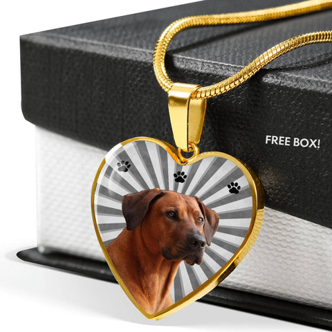 Rhodesian Ridgeback Print Heart Pendant Luxury Necklace
