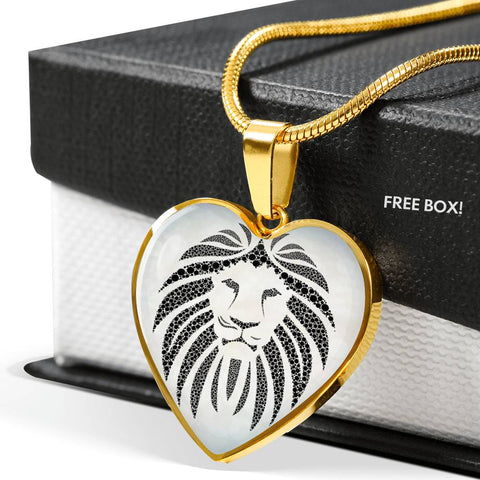 Lion Black&White Art Print Heart Charm Necklaces