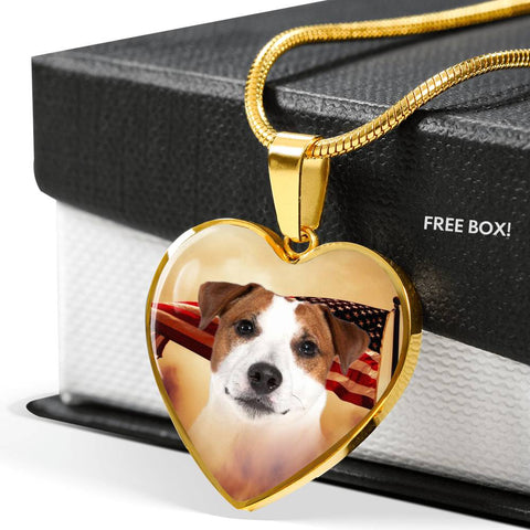 Jack Russell Terrier Print Heart Pendant Luxury Necklace