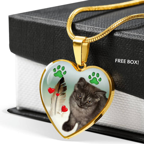 Selkirk Rex Print Heart Pendant Luxury Necklace