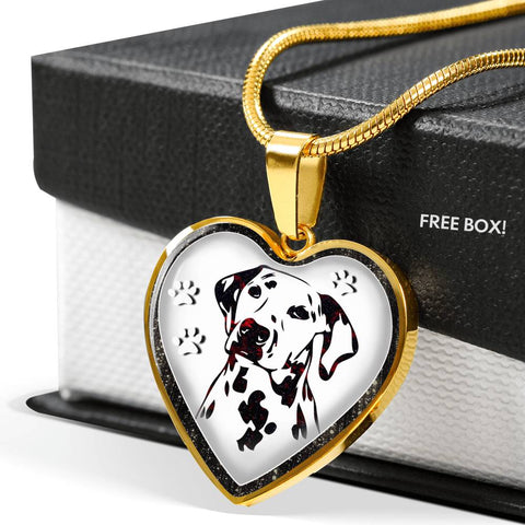 Lovely Dalmatian Dog Print Heart Charm Necklaces