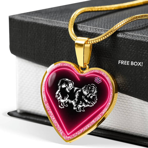 Pekingese Dog Print Heart Charm Necklaces