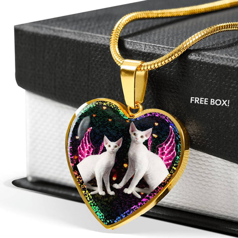 Devon Rex Cat Print Heart Charm Necklaces