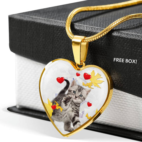 American Shorthair Print Heart Pendant Luxury Necklace