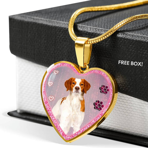 Brittany Dog Print Heart Charm Necklaces
