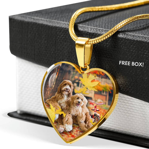 Cute Labradoodle Print Heart Pendant Luxury Necklace