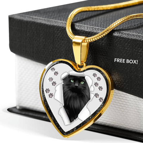 Nebelung Cat Print Heart Charm Necklaces