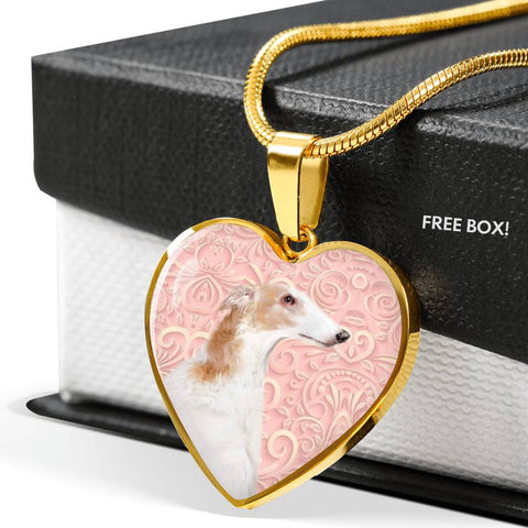 Borzoi Dog Print Heart Pendant Luxury Necklace