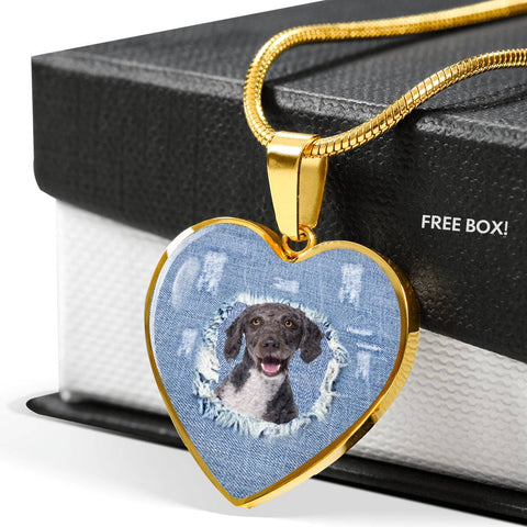 Amazing Spanish Water Dog Print Heart Pendant Luxury Necklace