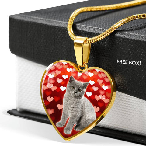British Shorthair Print Heart Pendant Luxury Necklace