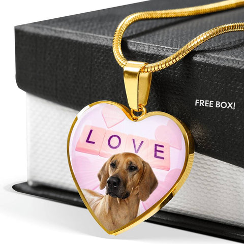 Cute Rhodesian Ridgeback Dog Print Heart Pendant Luxury Necklace