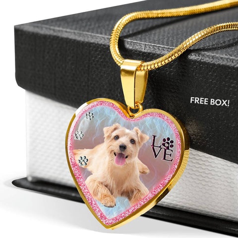 Norfolk Terrier Dog Print Heart Charm Necklaces