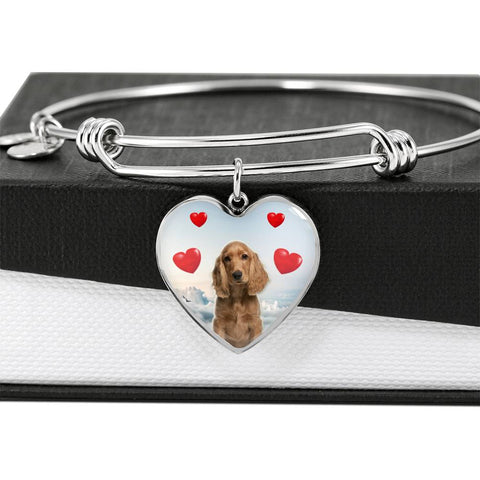 Cocker Spaniel Print Luxury Heart Charm Bangle
