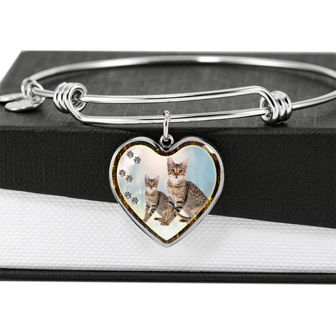 Savannah Cat Print Heart Pendant Bangle