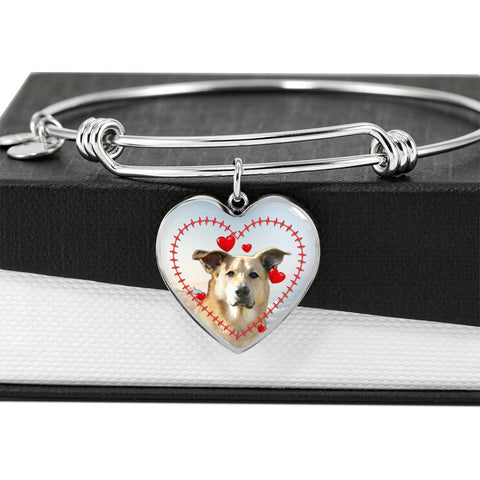 Cute Chinook Print Luxury Heart Charm Bangle