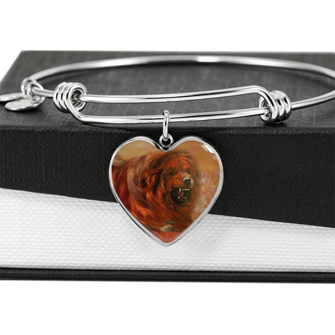 Tibetan Mastiff Print Heart Pendant Luxury Bangle
