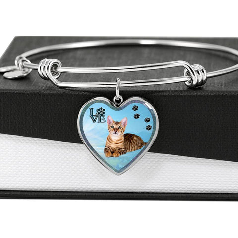 Toyger Cat Print Heart Pendant Bangle
