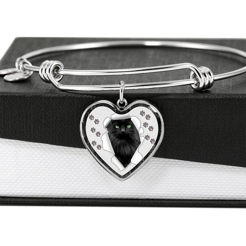 Nebelung Cat Print Heart Pendant Bangle